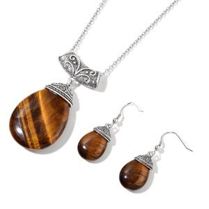 Jewelry - South African Tigers Eye Earrings and Pendant